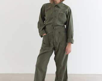 Vintage Olive Green Coverall | Green Army Jumpsuit | Flight Suit Studio Ceramic | Boilersuit | J014