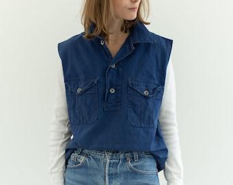 Vintage Denim Blue Popover Shirt | Indigo Two Button French Workwear style Pullover | S M | SC034