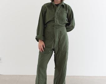 Vintage Olive Green Coverall | Green Army Jumpsuit | Flight Suit Studio Ceramic | Boilersuit | J015