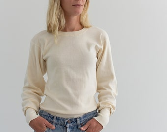 Vintage Butter Cream Ribbed Thermal | 100 Cotton military henley Shirt | 60s Knitwear Made in USA | S M |