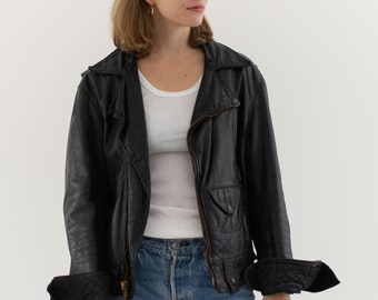 Vintage Black Leather Motorcycle Jacket | Talon Zipper Made in USA | S M