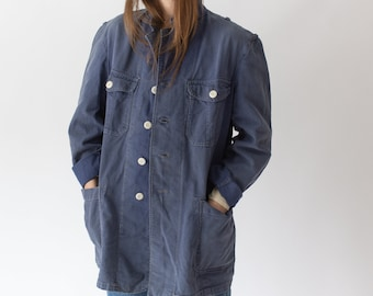 Vintage Blue Sun Faded Chore Jacket | Unisex Denim Swedish Cotton Workwear Utility Work Coat Blazer  | SC019