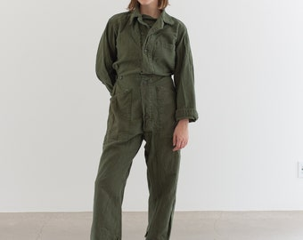Vintage Olive Green Coverall | Green Army Jumpsuit | Flight Suit Studio Ceramic | Boilersuit | J017