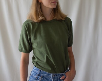 The Genoa Tee | Vintage Army Green Tee T-Shirt | Made in Italy Tee Shirt | 100% Cotton | Small Italian