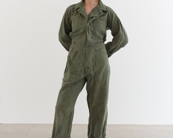 Vintage Olive Green Coverall | Green Army Jumpsuit | Flight Suit Studio Ceramic | Boilersuit | J018