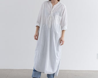 Vintage White Nightgown | Pajama Popover Dress Shirt | 100% Cotton Work Tunic | Crisp French Cuff | M L |