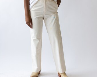 Vintage 30 Waist Cream Chino | High Waist Blue Paint Splatter Worker Pant Trouser |