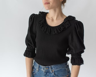 Vintage Black Puff Sleeve Shirt | Crochet Collar Rib Knit | Romantic Blouse | S | BP018