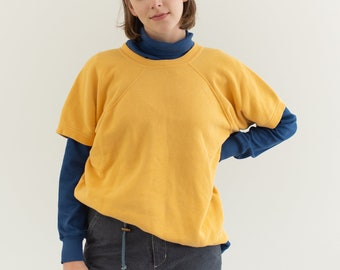 Vintage Yellow Short Sleeve Raglan Sweatshirt | M |
