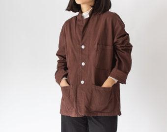 Vintage Hickory Brown Overdye Chore Jacket | Dark Brown Cotton French Workwear Style Utility Work Coat Blazer | M L