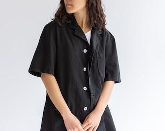 Vintage Black Work Shirt | Workwear Pocket Top | Side Cinch | Waist Tabs | S |