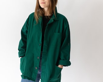 Vintage Emerald Green Chore Coat | Unisex Cotton French Workwear Style Jacket | Utility Work Jacket | M L
