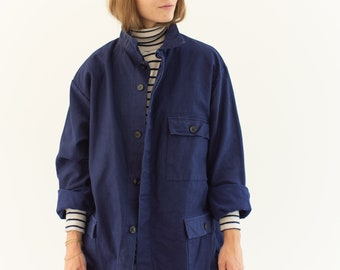 Vintage Blue Moleskin Chore Jacket | Unisex Navy Blue Cotton Utility Work Coat | M | IT054