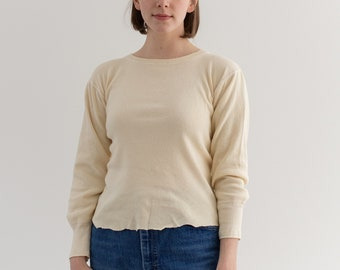 Vintage Butter Cream Ribbed Thermal Raw Hem | Wool Cotton military henley Shirt | 40s 50s Knitwear | S |