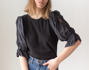 Vintage Black Puff Sleeve Shirt | Braided Cotton Crochet | Romantic Blouse | S M | BP099