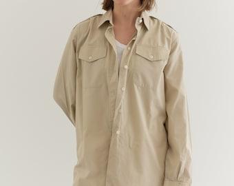 Vintage Stone Beige Shirt   Cotton Button Up Shirt   M  