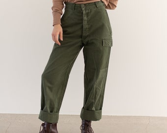 Vintage 27 Waist Olive Green Fatigues | Trousers | Dutch Army Pants | AP171