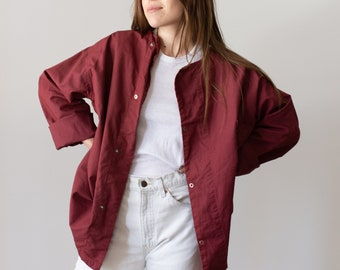 Vintage Berry Overdye Side Snap Jacket | Smock Tunic | Large Cotton Workwear | Military Utility Work Jacket