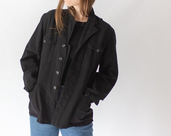Vintage Black Chore Jacket | Corozo Button | Unisex Denim Swedish Cotton Workwear | Utility Work Coat Blazer | SC022