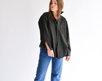 Vintage Rinsed Charcoal Black Long Sleeve Blouse | Button Up Utility Shirt | Workwear Overdye | S M L