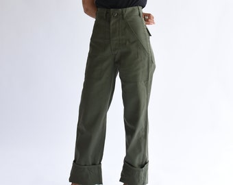 Vintage 24 Waist Army High Waist Pants | Petite Cotton Poly Utility Army Pant | Green Fatigue Slim Trouser | Made in USA | XS XXS |