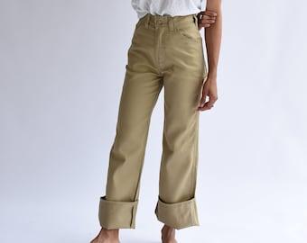 Vintage 27 28 29 High Waist Painter Pants | Tan Cotton Poly Utility Trouser | Beige Khaki Fatigue  | USA Made Carpenter Skater