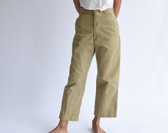 Vintage 25 26 High Waist Khaki Twill Chinos | Wide Leg Crop Pant Beige | Workwear | Khaki Army Trouser