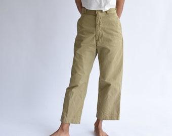 Vintage 25 26 High Waist Khaki Twill Chinos | Wide Leg Pant Beige | 60s Workwear | Khaki Army Trouser | XS