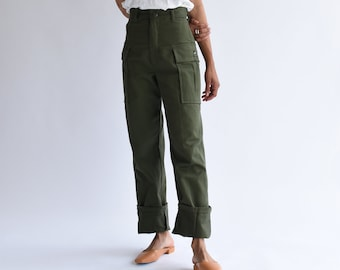 Vintage 26 27 32 Waist Army High Waist Cargo Pants | Cotton Military Utility Pant | Green Fatigue Trousers | Made in USA