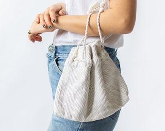 Vintage White Ribbon Handbag Corde Style Purse | 40s 1940 Tube Woven Twisted Ribbon Handle
