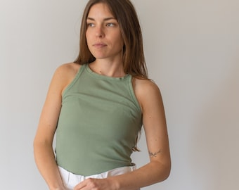 Vintage Olive Green Rib Knit Tank Top | Sage Green Base Layer | Green Undershirt | Singlet | XS S |