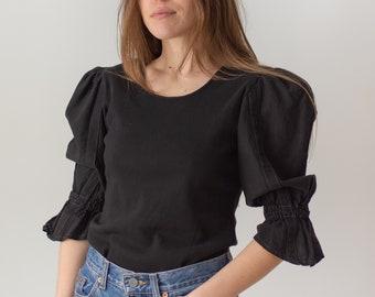 Vintage Black Puff Sleeve Shirt   Linen   Romantic Blouse   S M   BP071