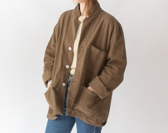 Vintage Mushroom Brown Overdye Chore Jacket | Double Pocket Cotton French Workwear Style Utility Work Coat Blazer | XS S M L XL