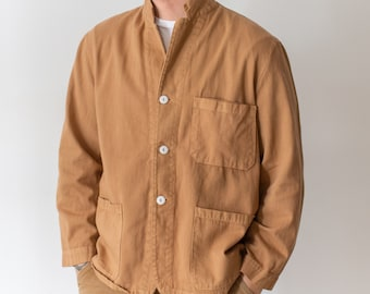 Vintage Almond Brown Overdye Chore Jacket | Cotton French Workwear Style Utility Work Coat Blazer | XS S M L XL