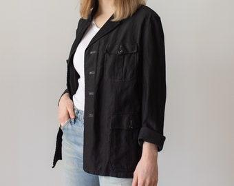 Vintage Black Safari Jacket | Corozo Button | Utility Work Coat Blazer | SC023