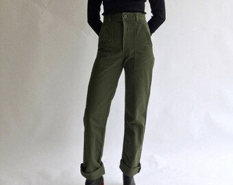 Vintage 24 25 27 30 31 32 Waist Slim Olive Green Army Pants Trousers | 80s Utility Fatigues | OG 107 |