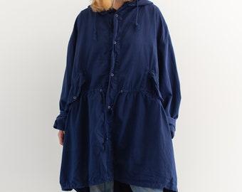 Vintage True Blue Hood Jacket | Cotton Smock Drawstring Anorak Layer | L |