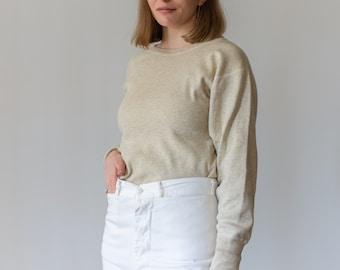 Vintage Cream Ribbed Thermal | Wool Cotton military henley |