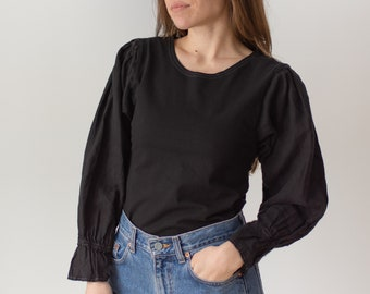 Vintage Black Puff Sleeve Shirt | Linen Gathered | Romantic Blouse | XS S | BP081
