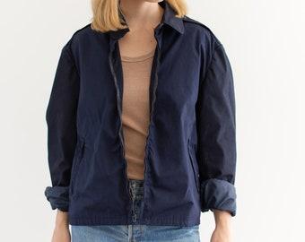 Vintage Navy Two Tone Blue Coat | Zipper Cotton Utility Work Jacket | M L |