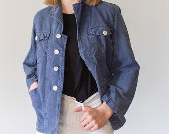Vintage Blue Sun Faded Chore Jacket | Unisex Denim Swedish Cotton Workwear Utility Work Coat Blazer | S | SC025