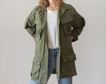 Vintage Olive Green Ripstop Jungle Jacket | Army Military |