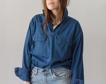 Vintage Blue Popover Shirt | Naval Anchor Buttons Military | French Workwear style Pullover | S M