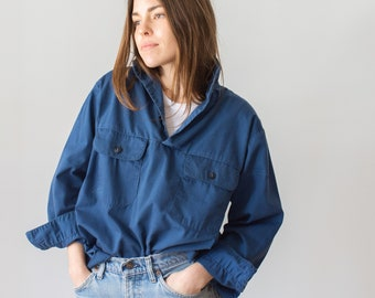 Vintage Blue Popover Shirt | Naval Anchor Buttons Military | Pullover Pilled | M L |