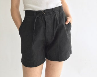 Vintage 26 27 28 30 31 Waist Black Cotton Blend Shorts | High Waist | Belted Short | Overdye