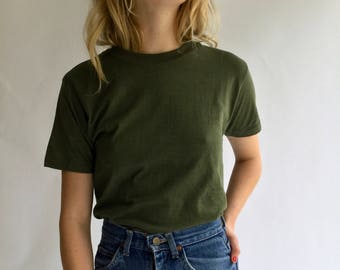 Vintage Army Green T-Shirt | S M Olive Green Crewneck Tee Cotton | Cotton Crew neck Tee Shirt Dead stock Military