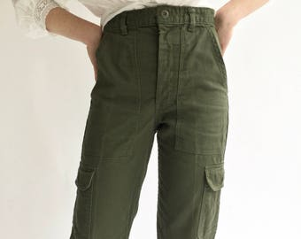 Vintage 26 27 28 29 30 31 Waist OG 107 Style Slim Olive Green Army Pants Trousers | Cargo Pocket 80s Utility Fatigues