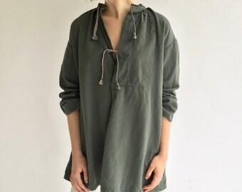 Vintage Teal Green Smock Tunic | Drawstring Tie Front Poet Shirt | Swiss Biaude