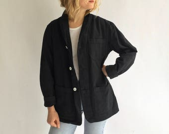 Vintage Black Overdye Chore Jacket | Round Three Pocket | Cotton French Workwear Style Utility Work Coat Blazer | Large |  L
