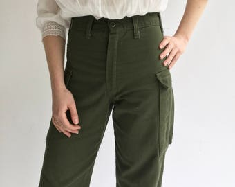 Vintage 28 29 Waist Army High Waist Cargo Pants | Military 100% Cotton Utility Pant | Green Fatigue Trousers